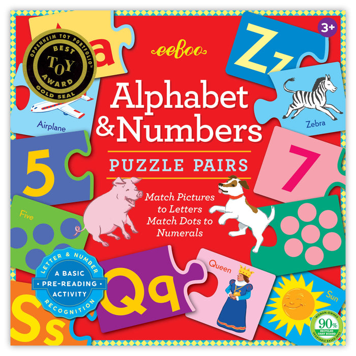 Alphabet & Numbers Puzzle Pairs, by eeBoo