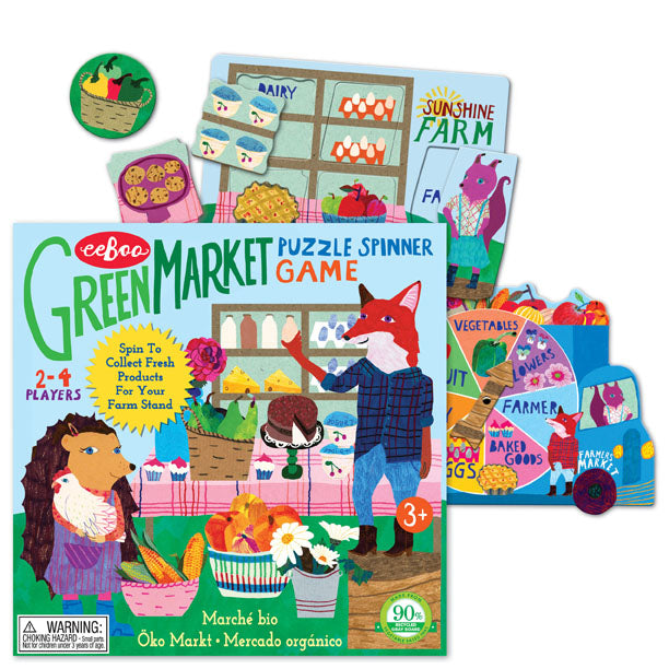 Green Market Puzzle Spinner Game, by eeBoo