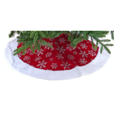 Festive Productions P030913 Christmas Tree Skirt  Burgundy With Silver Snowflakes  90cm