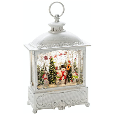 Konstsmide 4396-200 Water Filled LED Lantern  White with Snowmen  Birds  BatteryTimer  30cm