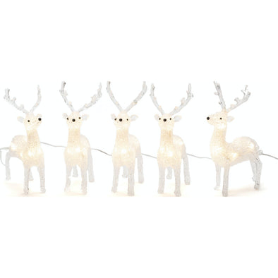 Konstsmide 6288-103EE Acrylic Reindeers Light String  Herd of 5  Plug In  12cm  40 LED
