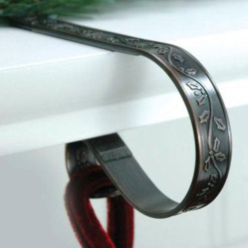 Haute Decor Original Mantle Clip : Stocking Hanger : 2 Pack : Embossed : Holly - Antique Brass