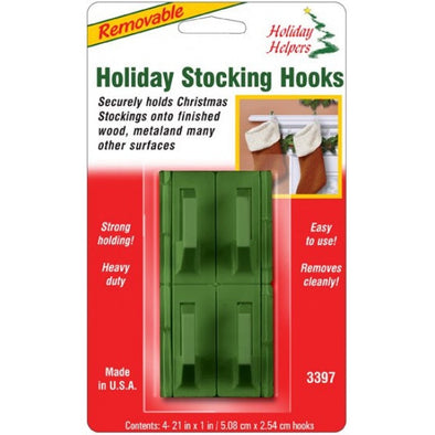 Removable Stocking Hooks : Green