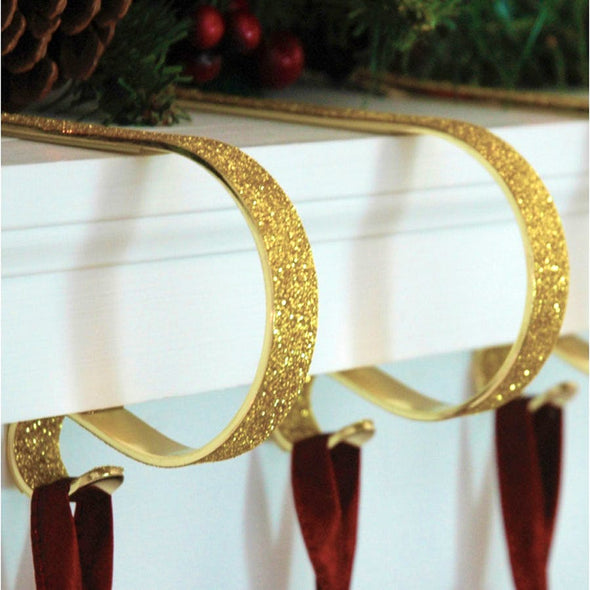 Haute Decor MC0257 Mantel Clip Stocking Hanger  2 Pack  Gold Glitter Finish