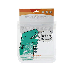 Full Circle 20FC17342D Full Circle Ziptuck Reusable Sandwich Bags  Set of 2  Dinosaur