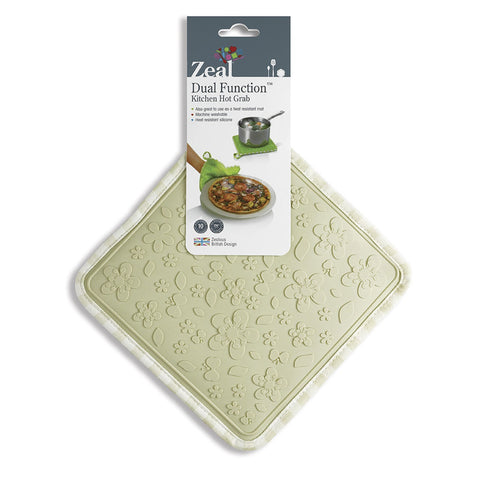 Zeal V107C Silicone Square Kitchen HOT GRAB  TRIVET Gingham Cream