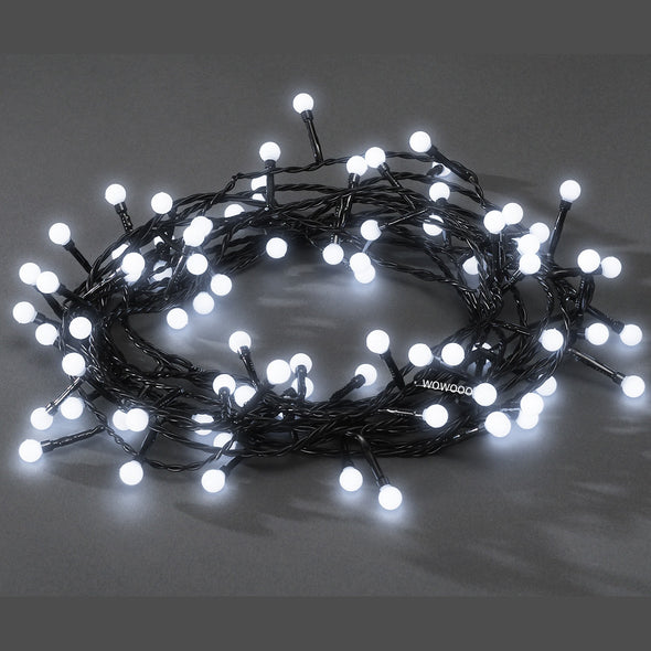 80 LED Berry Lights : Black Wire : White