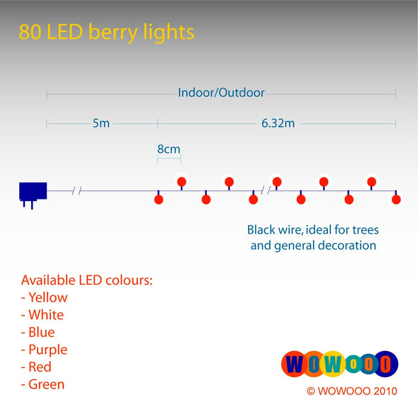 80 LED Berry Lights : Black Wire : Red