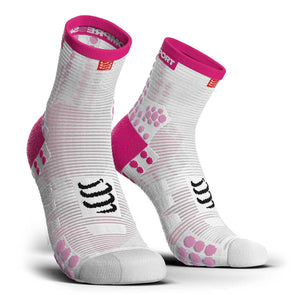 Compressport CS-27016 Compressport Pro Racing Socks V30 RUN High Cut WhitePink  T4