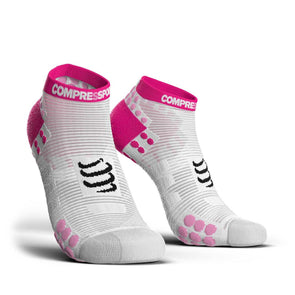 Compressport CS-27040 Compressport Pro Racing Socks V30 RUN Low Cut WhitePink  T4