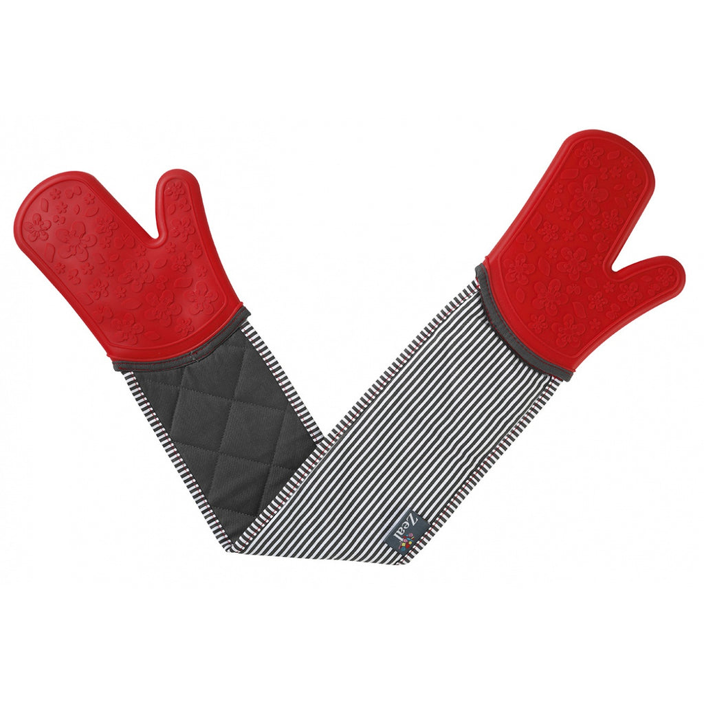 Zeal V114R Steam Stop Double Oven Glove  Stripe  Red