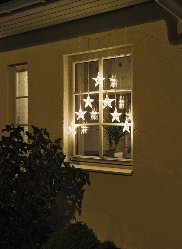 Star Curtain 7 Stars : 35 Warm White LEDs With Fibre Optics