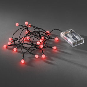 20 LED Berry Lights : Battery/Timer : Red