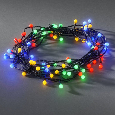 80 LED Berry Lights : Black Wire : Multicoloured