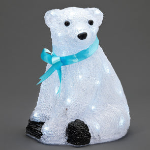 40 LED Acrylic Sitting Polar Bear : 28cm
