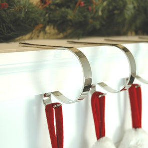Mantel Clip Stocking Hanger : 2 Pack : Shiny Silver