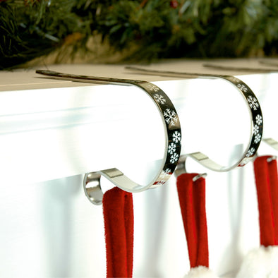 Mantel Clip Stocking Hanger : 2 Pack : Silver Snowflake