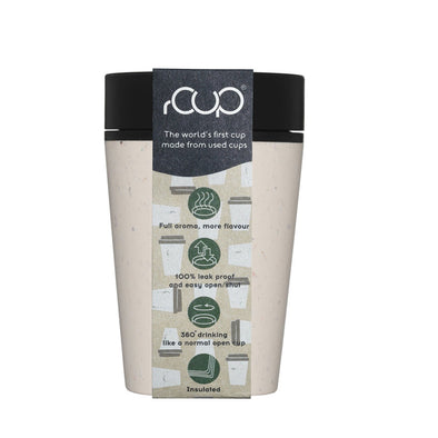 ashortwalk rCUP8oz C-B rCup 8oz Leak Proof Insulated Travel Mug  Recycled  Cream  Black