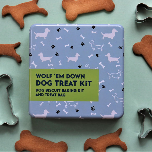 Apples To Pears 107103 Wolf Em Down  Dog Treat Kit In A Tin