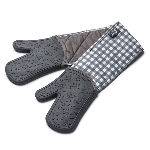 Zeal V116T Silicone Steam Stop Double Oven Gloves  Gingham Dark Grey