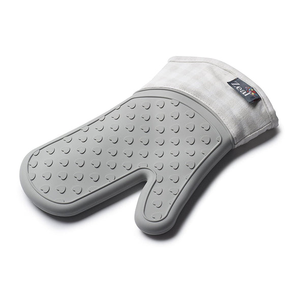 Zeal V132S Silicone Steam Stop Oven Glove  Gingham French Grey