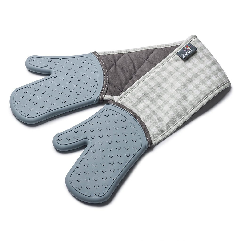 Zeal V133B Silicone Steam Stop Double Oven Gloves  Gingham Duck Egg Blue