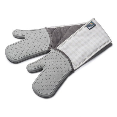 Zeal V133S Silicone Steam Stop Double Oven Gloves  Gingham French Grey
