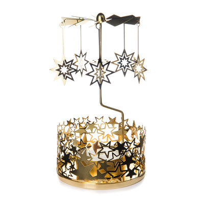 Stylys ST 3141 127-BR Stylys Candle Carousel  Filigree Base with 3D Star Christmas Decorations  Brass