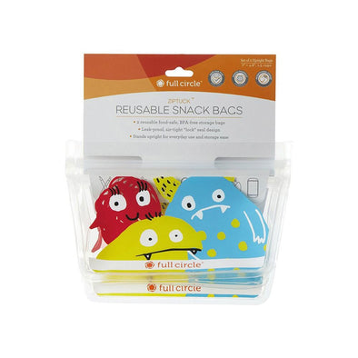 Full Circle 20FC17343M Full Circle Ziptuck Reusable Snack Bags  Monsters  Set of 2