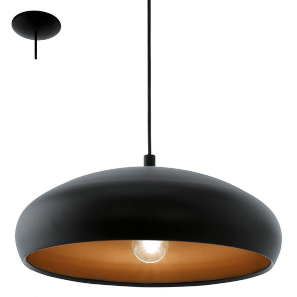 Eglo 94605 Eglo Mogano 1  Black and Copper Pendant Light  94605