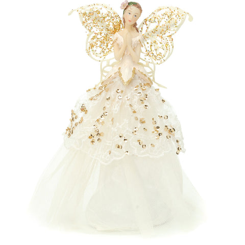 Festive Productions 229215 Angel Tree Topper  Gold  Cream  23cm