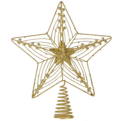 Festive Productions NDH11579/G Star Tree Topper  Gold Glitter 25cm