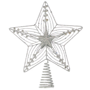 Festive Productions NDH11579/S Star Tree Topper  Silver Glitter 25cm