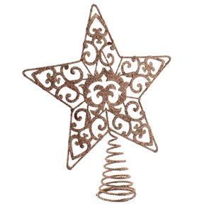 Festive Productions P021457 Christmas Tree Topper  21cm  Rose Gold Glitter Star