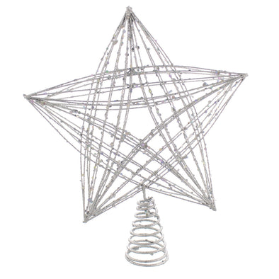 Festive Productions P024228 Tree Topper Large Silver Glitter CrissCross Star