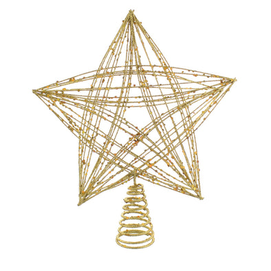 Festive Productions P024229 Tree Topper Large Gold Glitter CrissCross Star