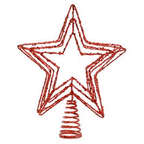 Festive Productions P024230 Tree Topper  Red Glitter Large Five Point Star