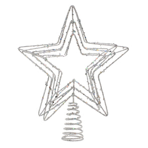 Festive Productions P024231 Tree Topper  Silver Glitter Large Five Point Star