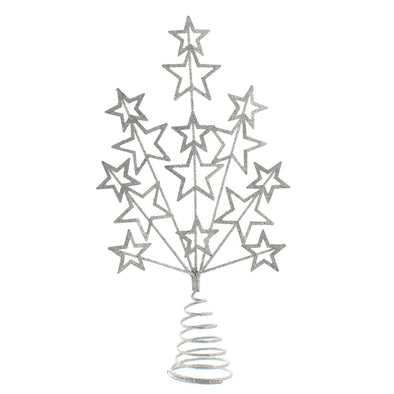 Festive Productions P025575 Christmas Tree Topper  16cm  Silver Glitter Star Burst