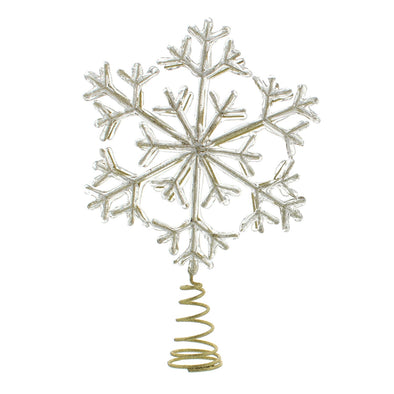 Festive Productions P025577 Tree Topper  Acrylic Encrusted Gold Glitter Snowflake