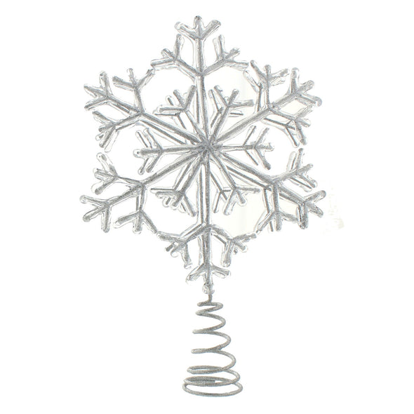 Festive Productions P025577 Tree Topper  Acrylic Encrusted Silver Glitter Snowflake