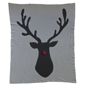Shruti Designs 42537 Rudolph Reindeer Knitted Blanket  Grey  150 x 125 cm