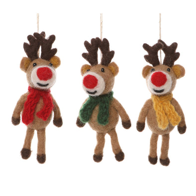 Half Moon Bay 42672 Felt Tree Decorations  Set of Three Christmas Reindeer