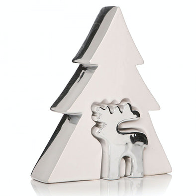 Half Moon Bay 52428 Silver Reindeer With White Christmas Tree Porcelain Decoration