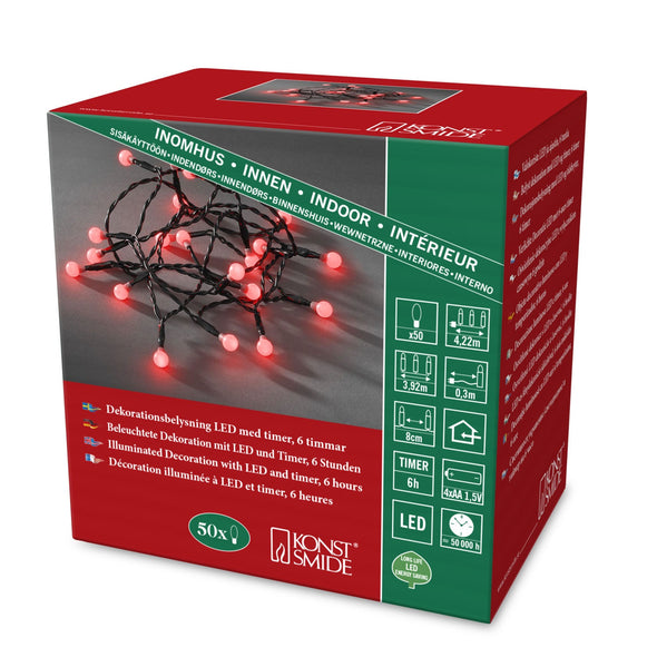 Berry Lights : Battery/Timer : 50 LED : Red