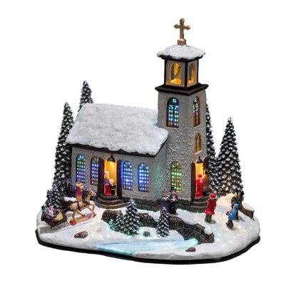 Konstsmide 3434-000 Fibre Optic LED Church Christmas Scene  Mains Or Battery
