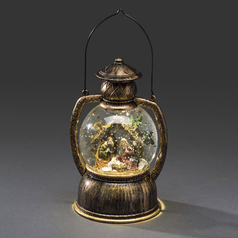 Water Filled LED Round Lantern : Battery & Timer : Nativity