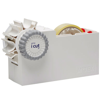 MoTEX ICUT8F-WH iCut Automatic Easy Peel Tape Dispenser  Water Wheel with End Folding  White