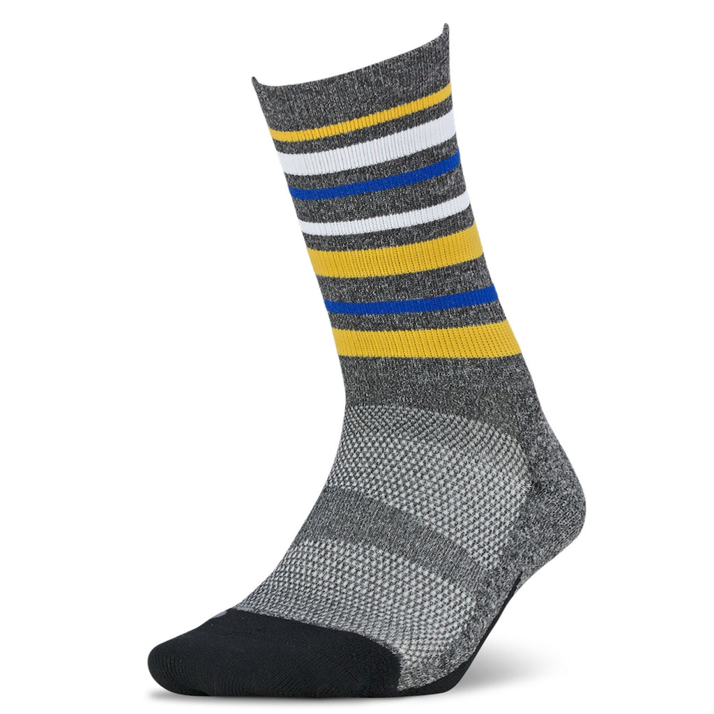 Feetures FE-122592 Elite  Light Cushion  Mini Crew  Stripes Yellow  XL