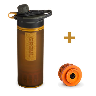 GRAYL GR-004546, GR-004607 Grayl GEOPRESS Water Purifier Bottle with Filter  Extra Filter  Coyote Amber